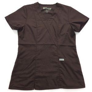 Grey's Anatomy | Dark Brown Modern Fit Scrub Top